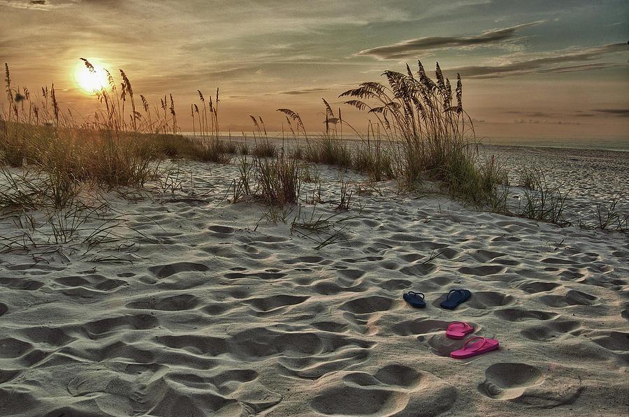 Alabama Photographer Digital Art - Flipflops On The Beach by Michael Thomas