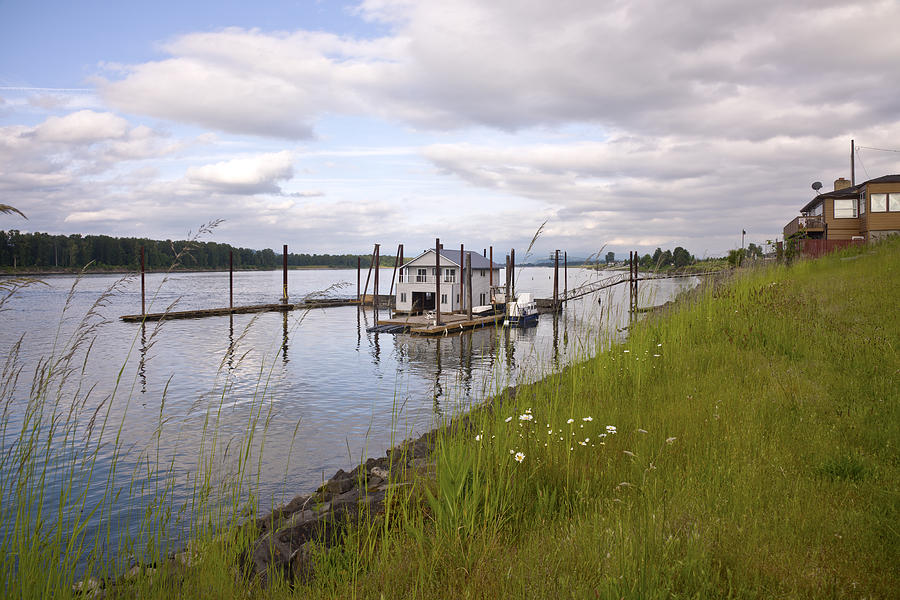 Wild Flowers Photograph - Floating House On The Columbia River Oregon. by Gino Rigucci