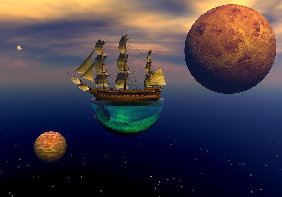 Bryce 3d Scifi Fantasy Windjammer sailing Ship Sailing Digital Art - Floating On A Dream by Claude McCoy