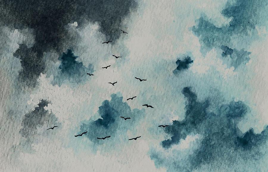 Flock Of Birds Against A Dark Sky  Painting
