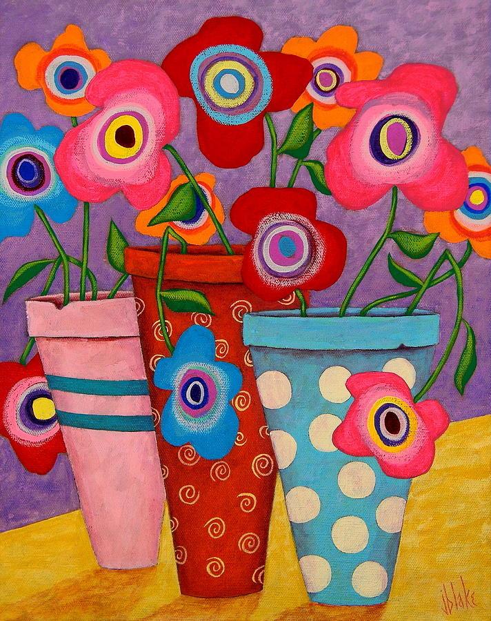 Modern Folk Art Flowers Painting - Floral Happiness by John Blake