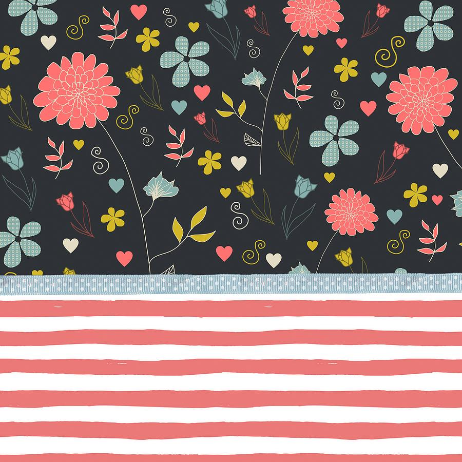 Floral Pattern With Bold Salmon Stripes Painting
