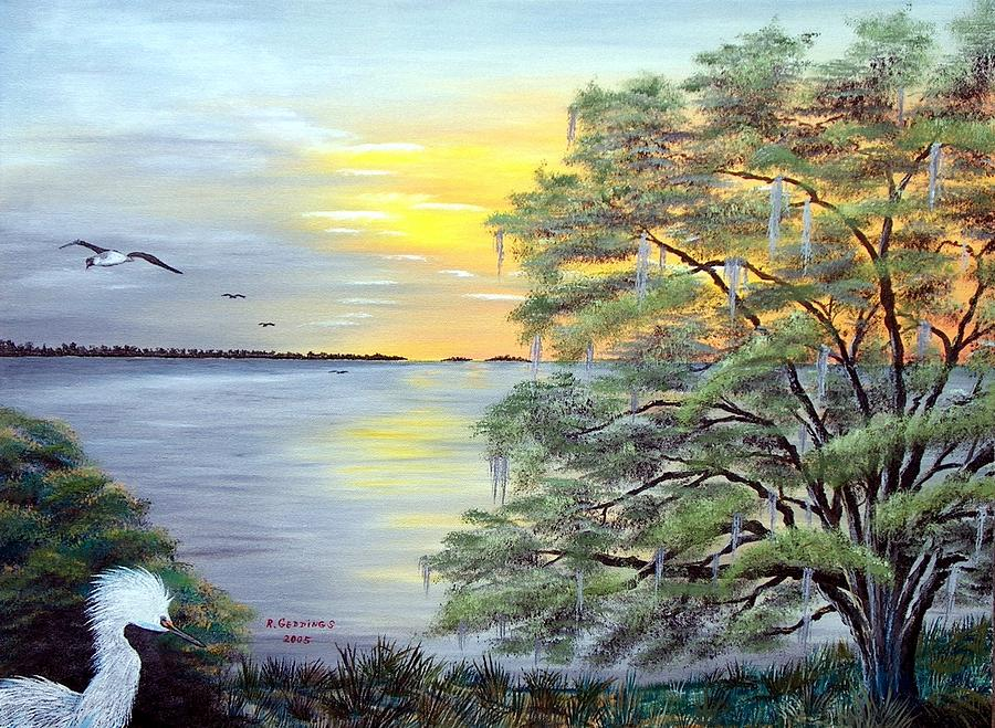 Water Painting - Florida Bay Sunrise by Riley Geddings