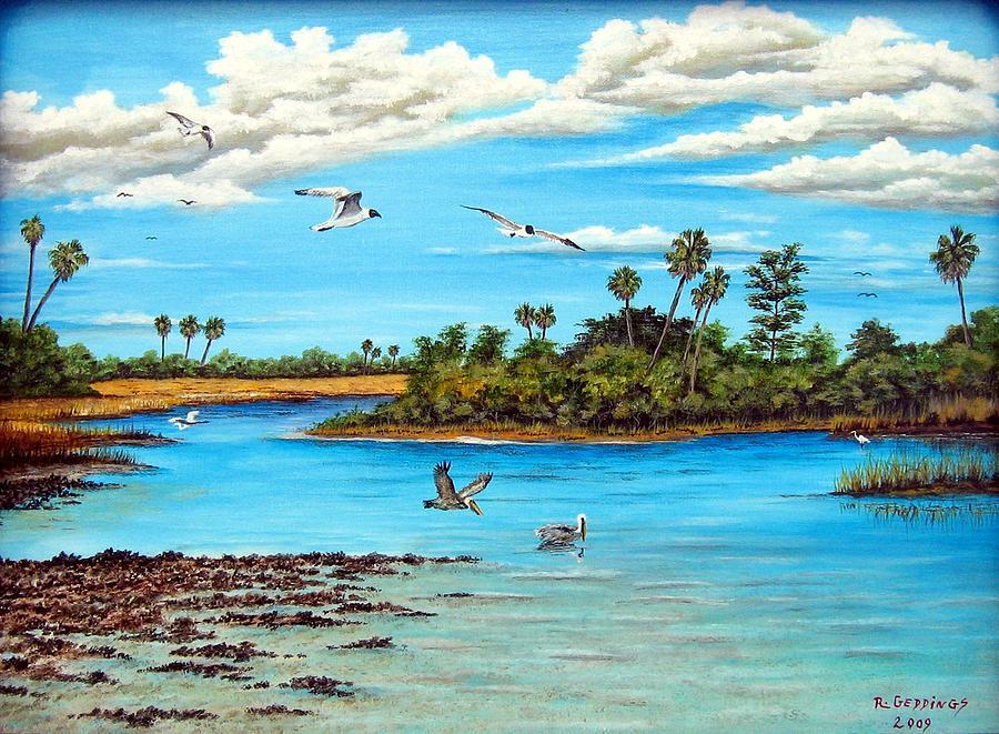 Pelican Painting - Florida Bayou by Riley Geddings