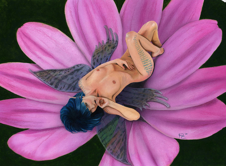 Fantasy Pixie Fairy Faery Faerie Latex Gouache Sexy Nude Naked Erotic Wings Painting - Flower Bed by Kevin Clark