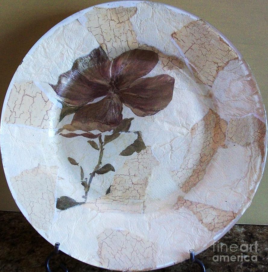 Photo Mixed Media - Flower Decopage Plate by Marsha Heiken