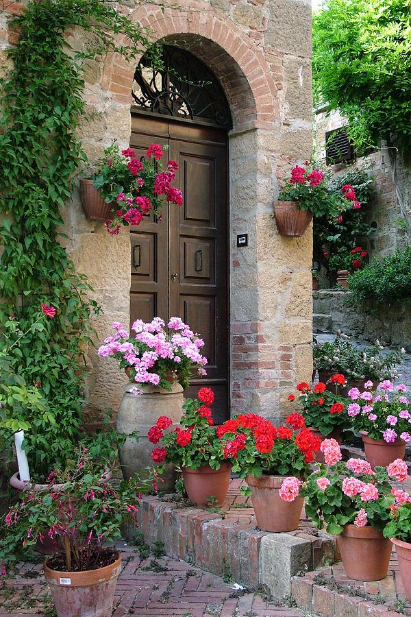 Flowered Montechiello Door Photograph