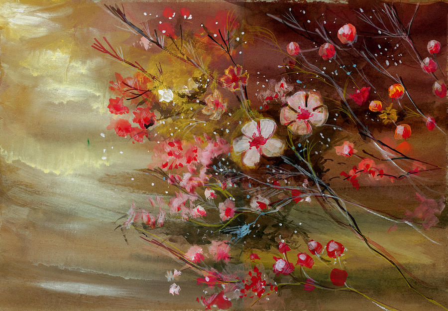 Nature Painting - Flowers 2 by Anil Nene