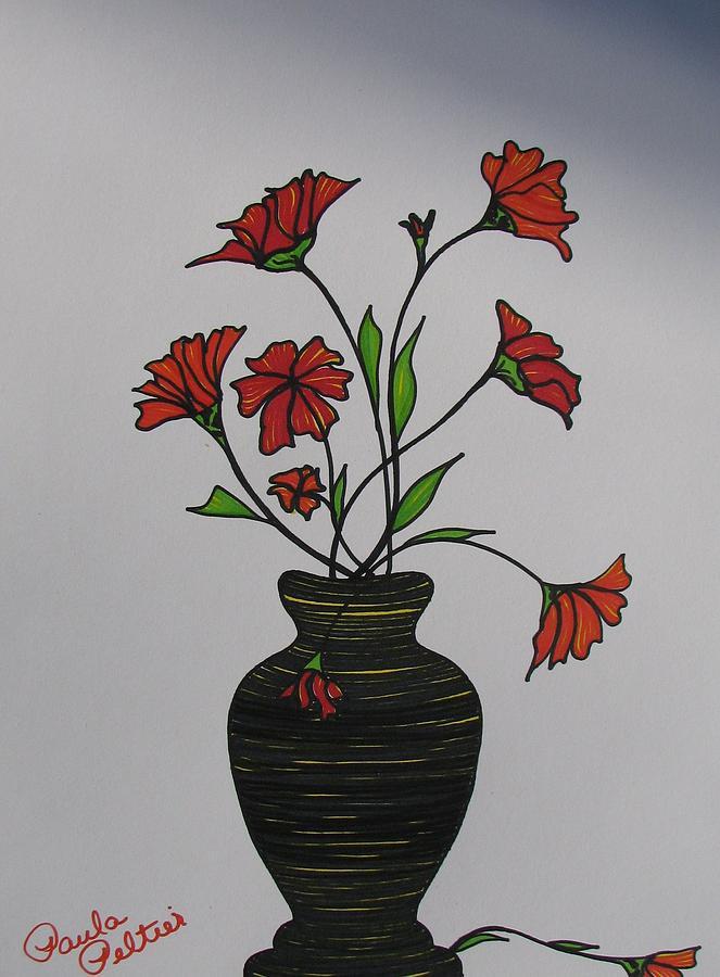 Flower Vase With Flowers Drawings