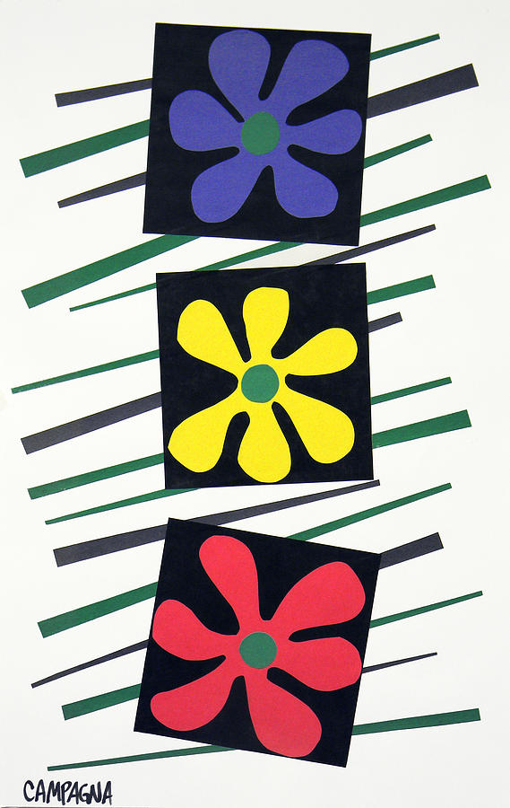 Cut Paper On Paper Tapestry - Textile - Flowers Three by Teddy Campagna