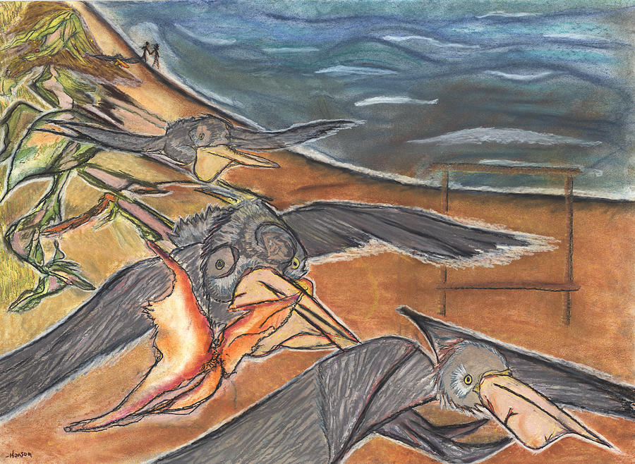 Pelicans Pastel - Fly By by Stu Hanson