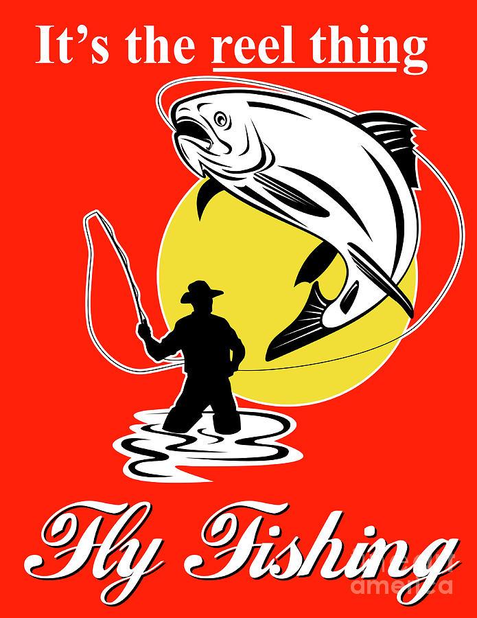 Fly Fisherman Digital Art - Fly Fisherman Catching Trout by Aloysius Patrimonio