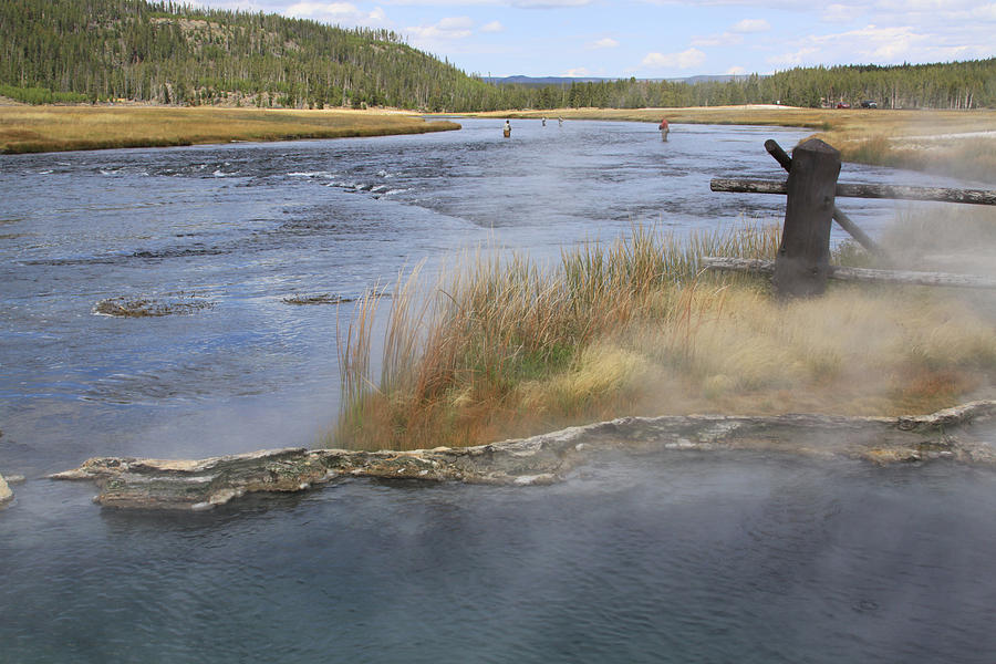 Fishing Photograph - Fly Fishing And Geyser  by Gayle Johnson