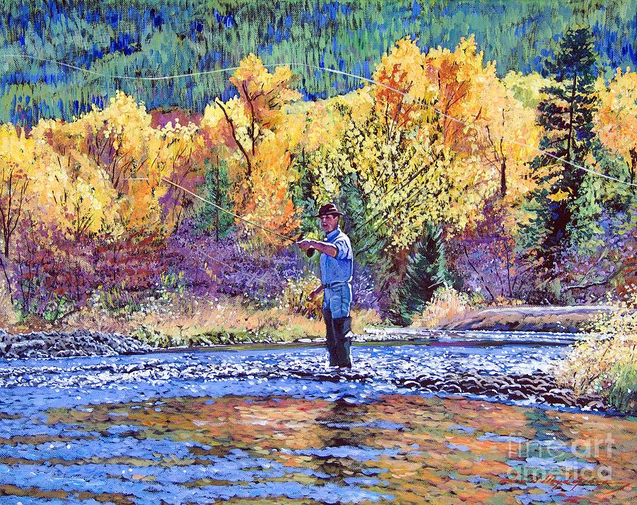 Flyfishing Painting - Fly Fishing by David Lloyd Glover