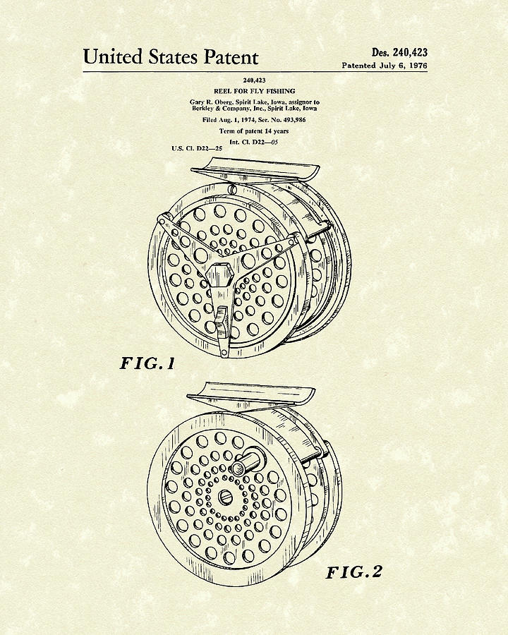 Fly Fishing Reel 1976 Patent Art Drawing