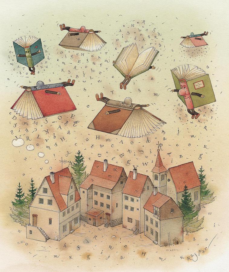 Books Town Flying Alphabet Painting - Flying Books by Kestutis Kasparavicius