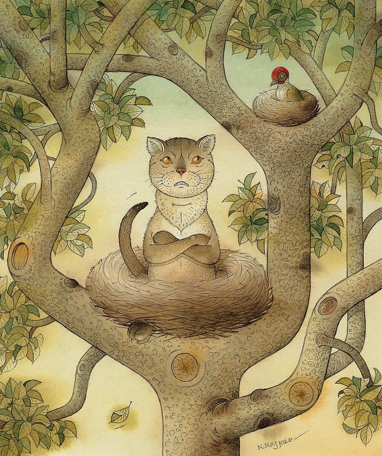 Tree Nest Cat Bird Landscape Sky Painting - Flying Cat by Kestutis Kasparavicius