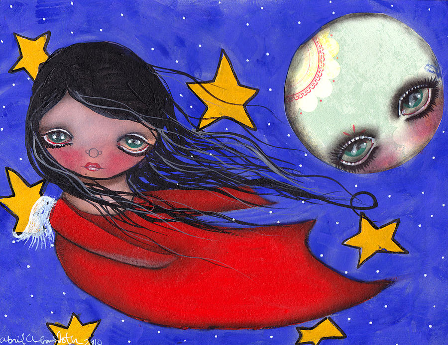 Angel Painting - Flying With The Moon by  Abril Andrade Griffith