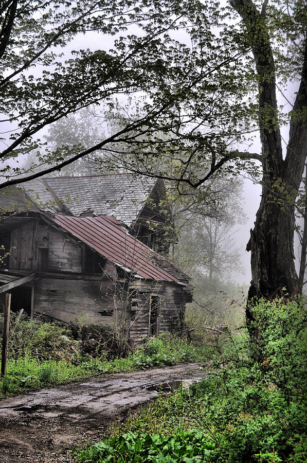 Abandoned House Photograph - Foggy Past by Emily Stauring