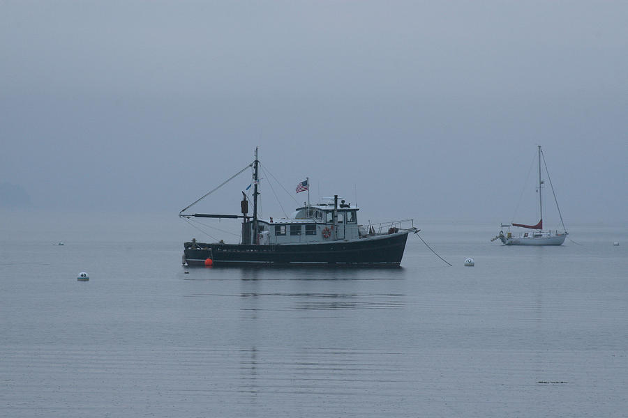 Fog Photograph - Foggy Start To The Day Penobscot Bay Maine by Brian M Lumley