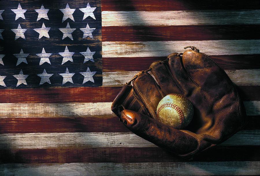 Folk Art American Flag Photograph - Folk Art American Flag And Baseball Mitt by Garry Gay