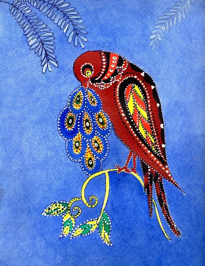 Folk Art Bird is a painting by Connie Valasco which was uploaded on ...