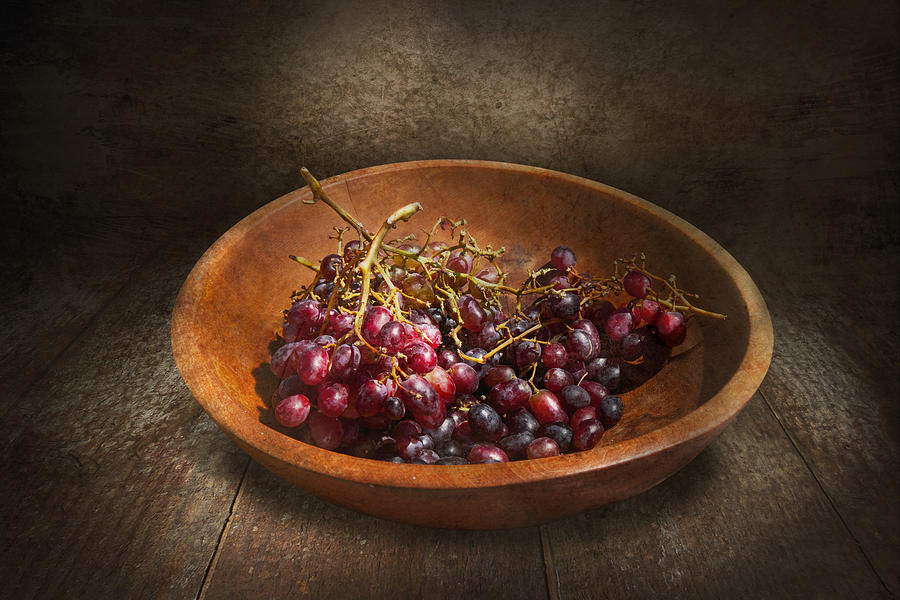 Chef Photograph - Food - Grapes - A Bowl Of Grapes  by Mike Savad