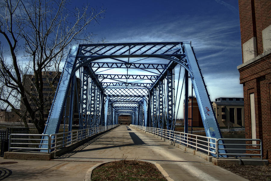 Walkway Photograph - Foot Bridge Over The Grand River by Richard Gregurich