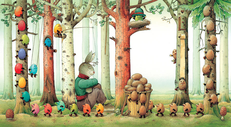 Eggs Easter Forest Painting - Forest Eggs by Kestutis Kasparavicius
