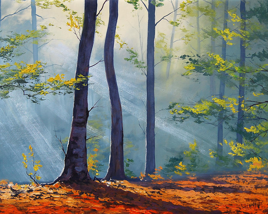 Fall Painting - Forest Sunrays by Graham Gercken