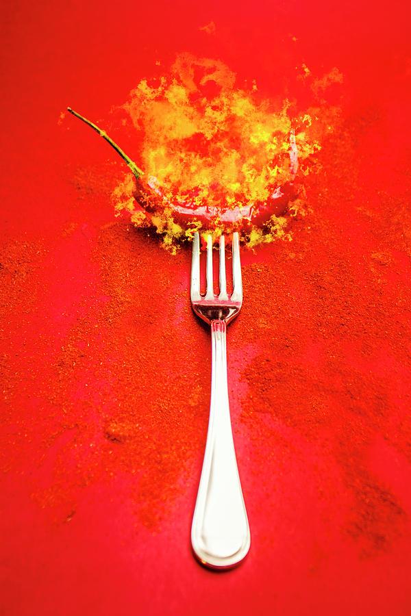 Forking Hot Food Digital Art