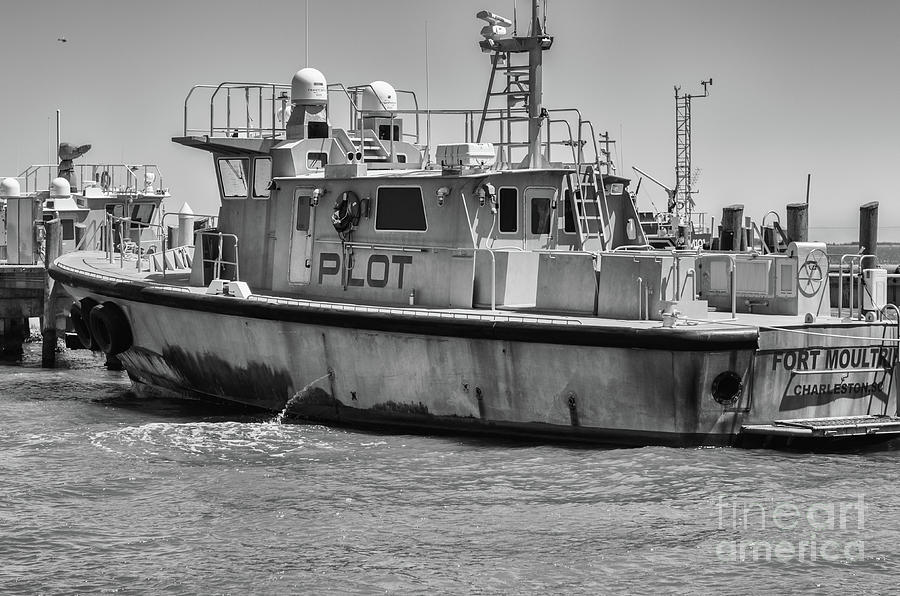 Fort Moultrie Pilot Boat Monochrome Photograph