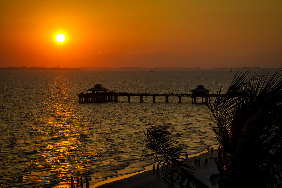 Fort myers beach fishing pier at sunset photograph by ron pate for Fort myers beach fishing