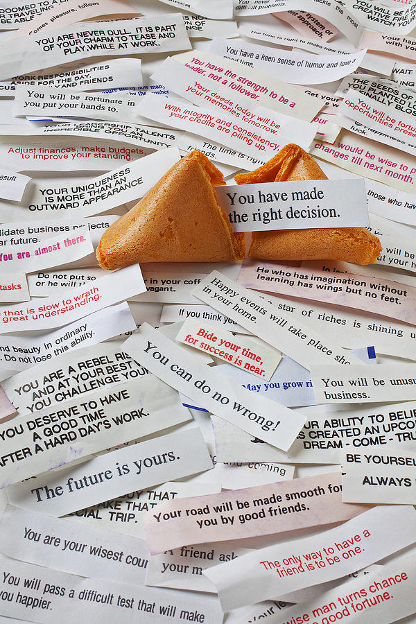 Fortune Cookie Sayings Words Photograph - Fortune Cookie Sayings  by Garry Gay