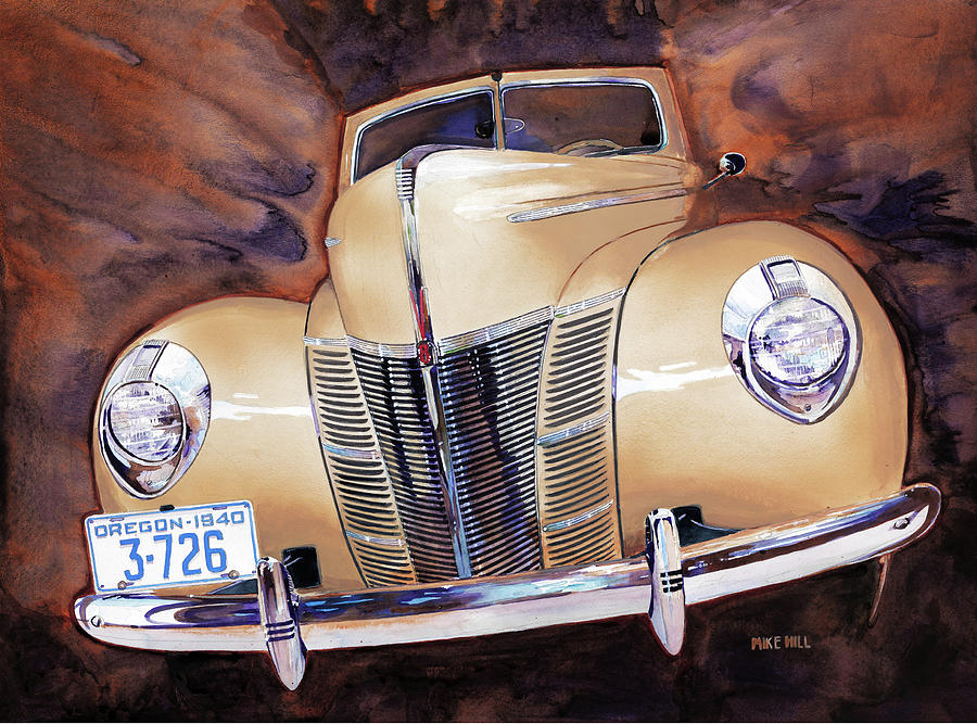 Forty 40 Ford Convertible Tan Oregon Collector Car Auto Automobile World War Ii Pearl Harbor V8 Coupe Reflections Glow Antique Classic Chrome Victoria Special Deluxe Hood Nose Grille Henry Ford 1940 Painting - Forty Ford by Mike Hill