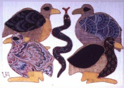 Four Birds And A Snake Painting