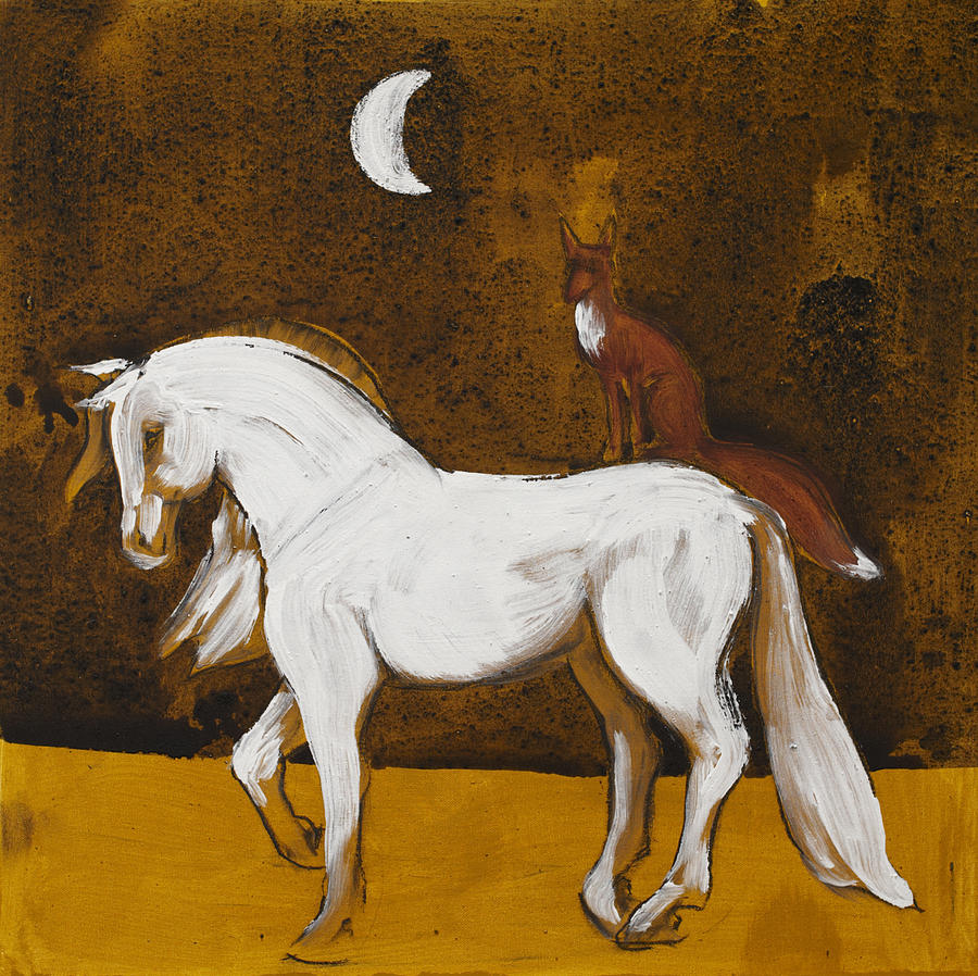 White Horse Fox Celtic Earth Paints Painting - Fox And Horse by Sophy White