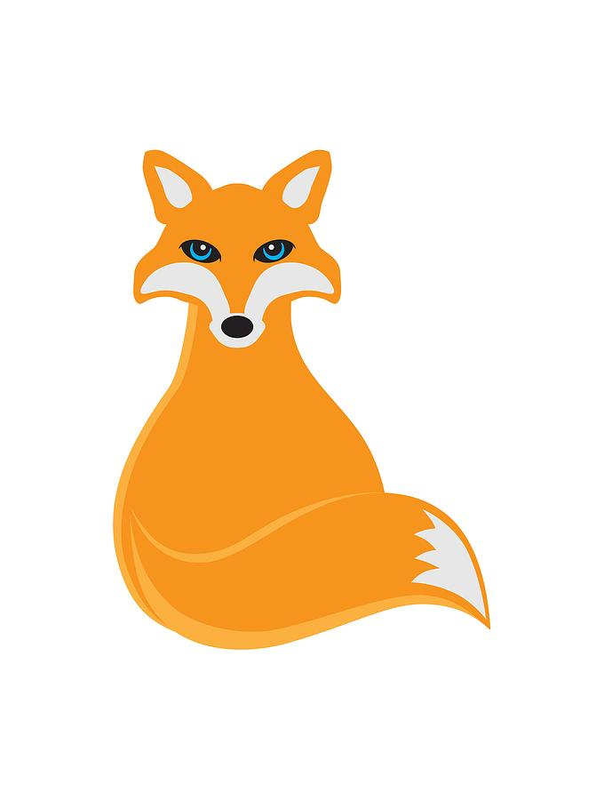 Sitting fox illustration - photo#4