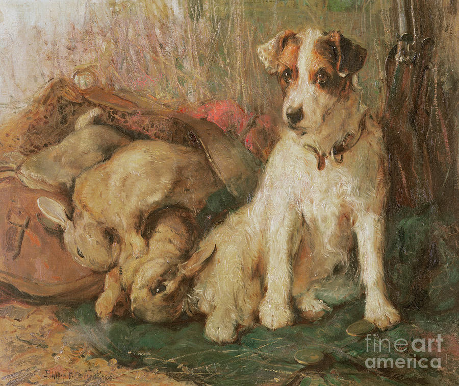 Fox Terrier With The Days Bag Painting