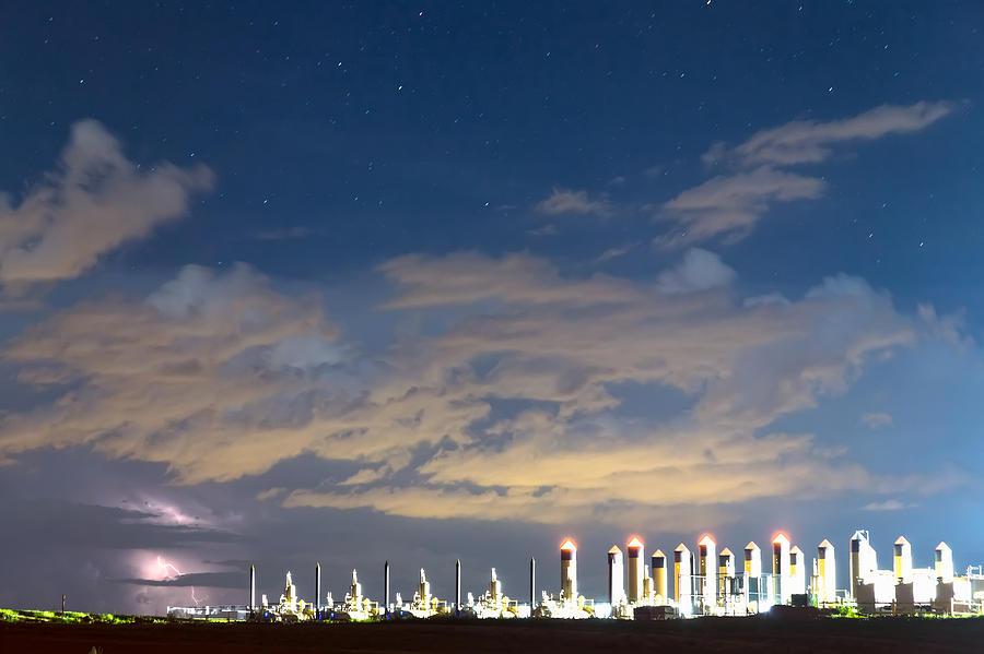 Fracking Lightning Storm Photograph