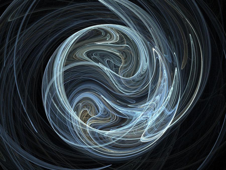 Abstract Digital Art - Fractal Ying Yang by Jaroslaw Grudzinski