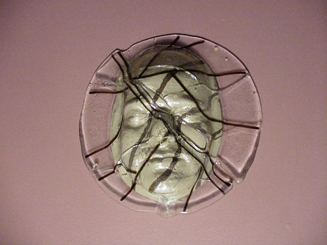 Fused Glass Sculpture - Fractured Face by David Morgan