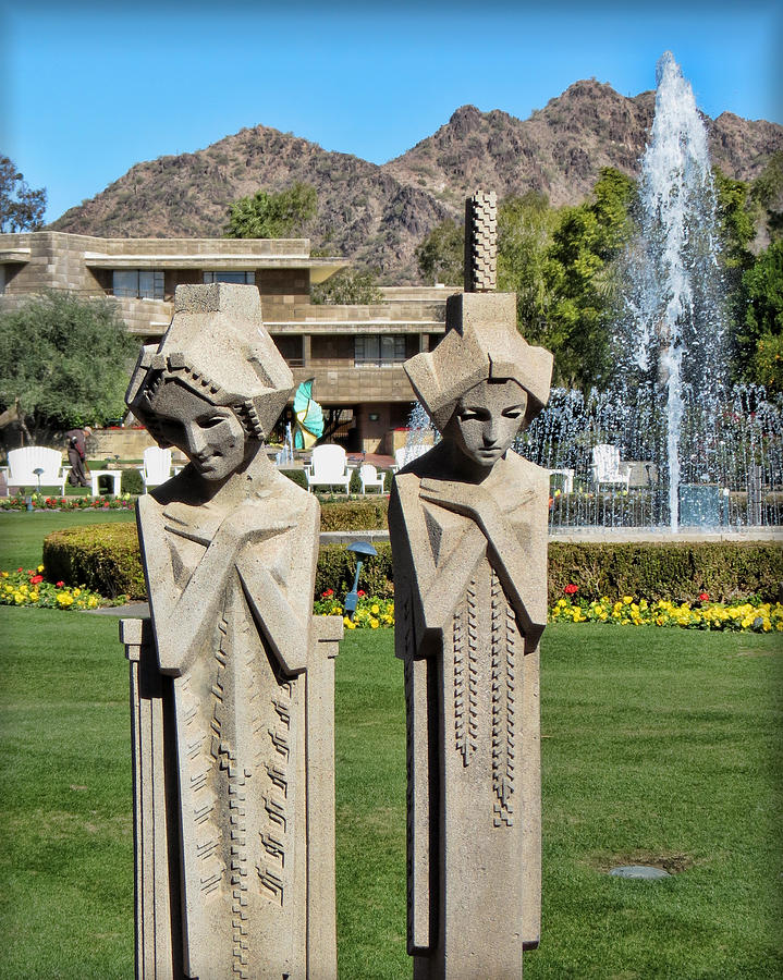 Statue Photograph - Frank Lloyd Wright Maidens At The Biltmore by Diane Wood