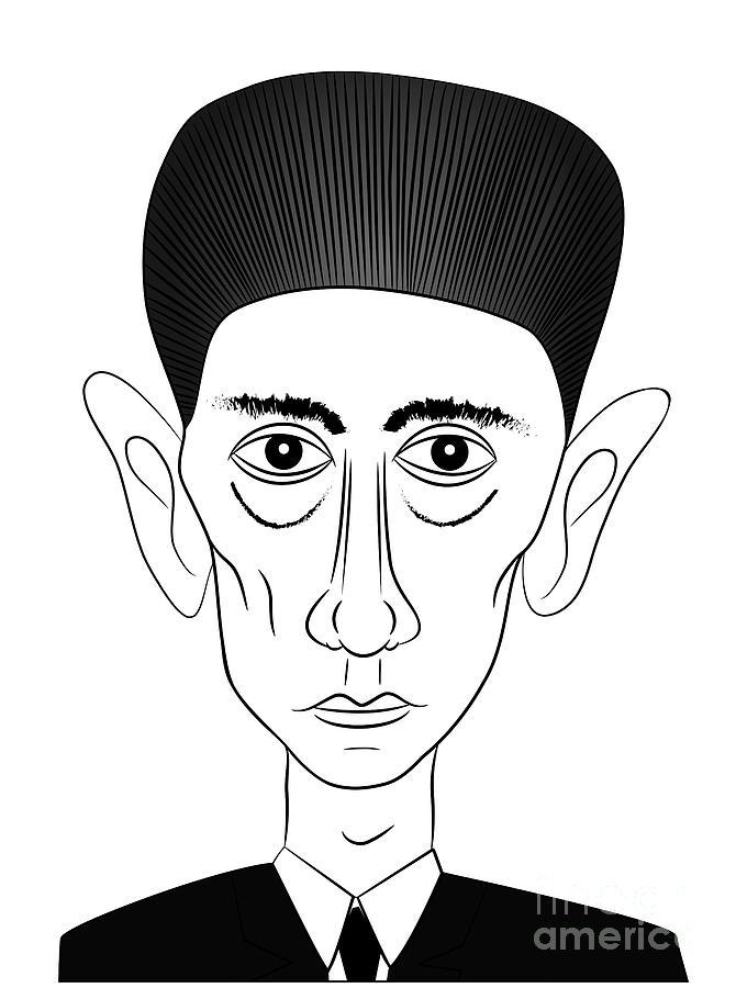 Kafka Drawing - Franz Kafka by Michal Boubin