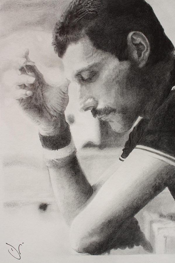 Freddie Mercury Drawing Drawing - Freddie  by Dan Lamperd