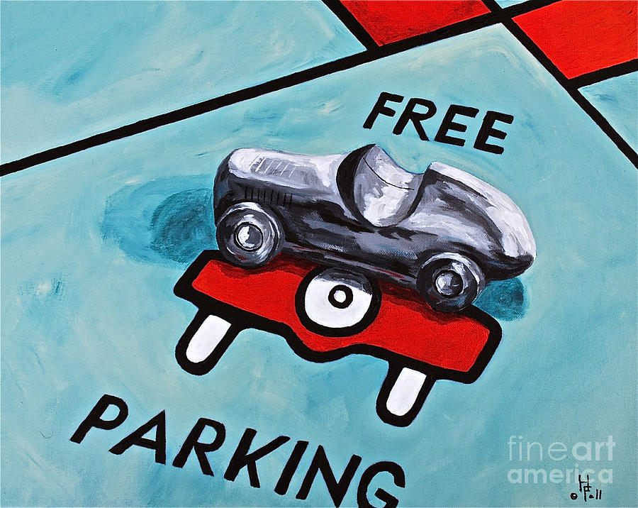 Still Life / Monopoly Toys Games Free Parking Kids  Painting - Free Parking by Herschel Fall