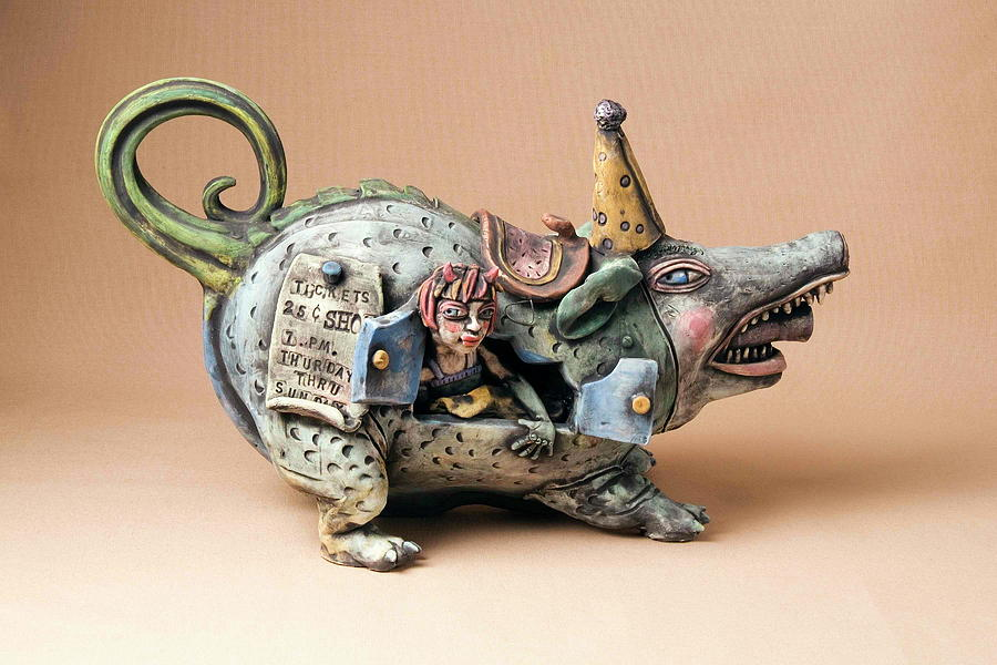 Pottery Teapot Animal Clay Fun Ceramic  Ceramic Art - Free Ride by Kathleen Raven