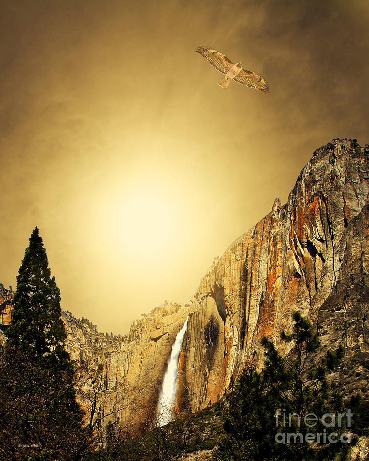 Landscape Photograph - Free To Soar The Boundless Sky . Portrait Cut by Wingsdomain Art and Photography
