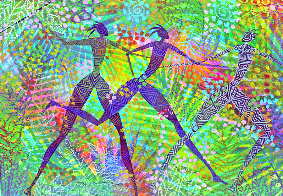 Jungle Tropical Rain Forest Figures Colourful Magical Painting - Freedom In The Rain Forest by Jennifer Baird