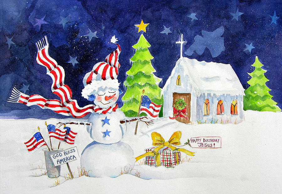 Patriotic Snow Person Painting - Freedom Of Religion by Suzy Pal Powell